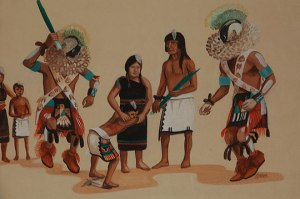 Image of Hopi-Tewa Initiation. Artist: Raymond Naha (1933-1975)